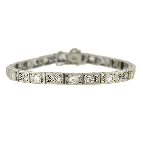 Art Deco 14kt & 10kt Diamond Filigree Line Bracelet 1.50ctw