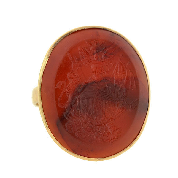 Victorian 10kt Carnelian Intaglio Family Crest Signet Ring