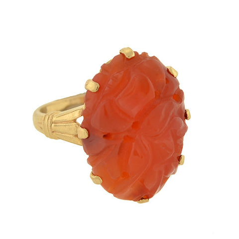 Art Deco 10kt Carved Carnelian Ring
