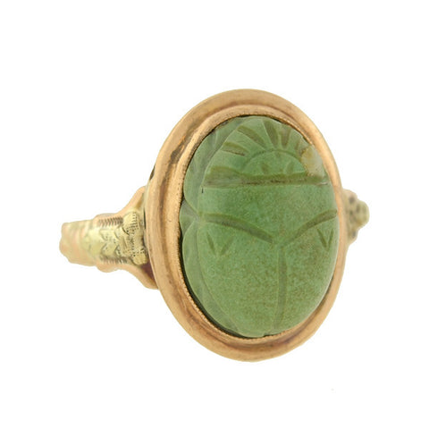 Art Deco 10kt Egyptian Revival Carved Agate Scarab Ring