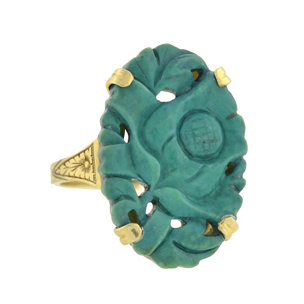 WALTER LAMPL Art Deco 10kt Carved Turquoise Ring