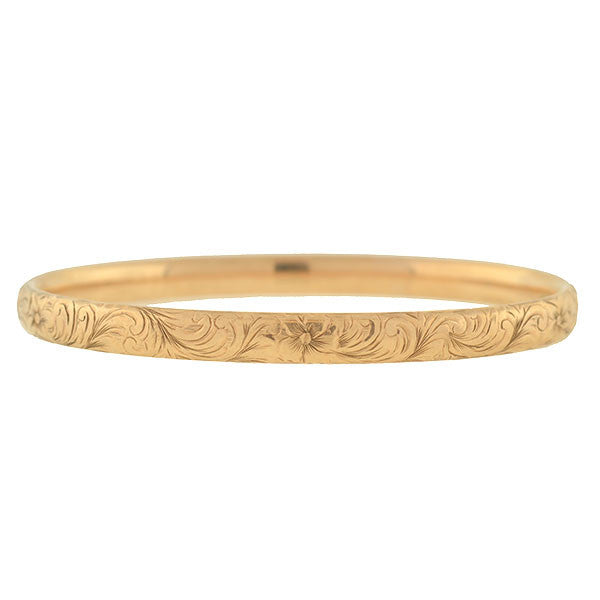 Victorian 10kt Rose Gold Floral Motif Etched Bangle Bracelet