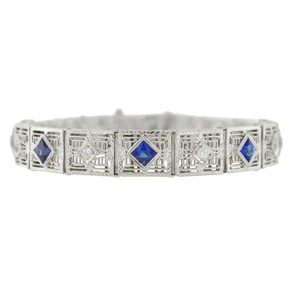 Art Deco 10kt Synthetic Sapphire & Diamond Filigree Line Bracelet