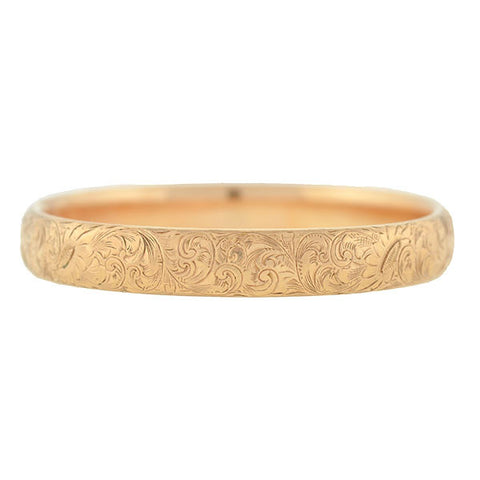 Victorian 10kt Gold Floral Etched Bangle Bracelet