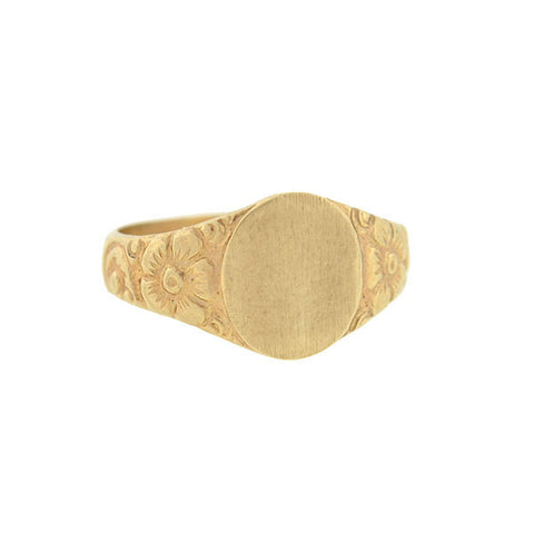 Retro 10kt Yellow Gold Floral Motif Baby Signet Ring