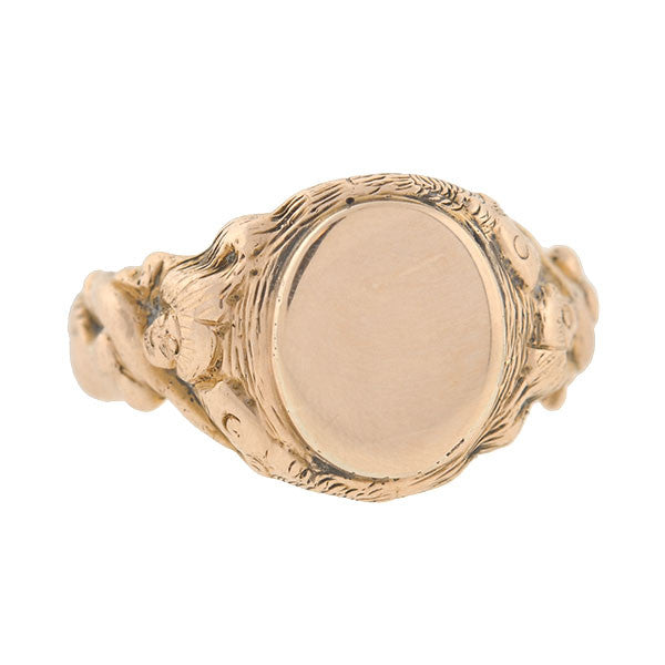 Late Victorian 10kt Gold Mermaid Signet Ring