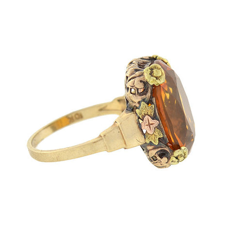 Arts & Crafts Era 10kt Mixed Metals Madeira Citrine Ring
