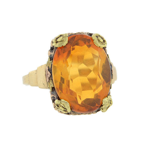 Arts & Crafts 10kt Mixed Metals Madeira Citrine Ring