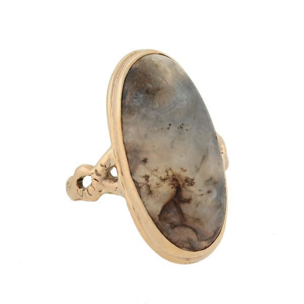 Victorian 10kt Moss Agate Cabochon Ring