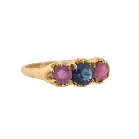 Victorian 10kt Gold Ruby & Sapphire 3-Stone Ring
