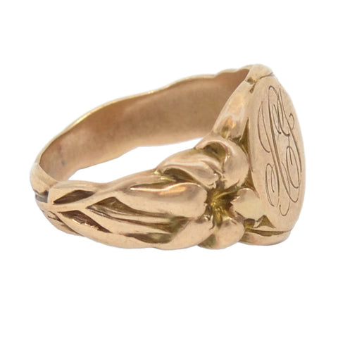 Victorian 10kt Rose Gold Lily Flower Motif Signet Ring