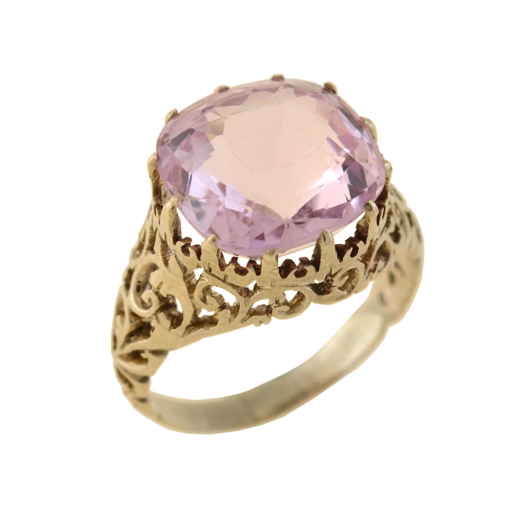 Victorian GIA-Certified 14kt Natural Ceylon Pink Sapphire Ring 11.67ct