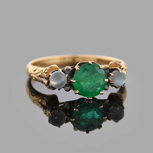 Victorian 12kt Emerald & Moonstone Ring