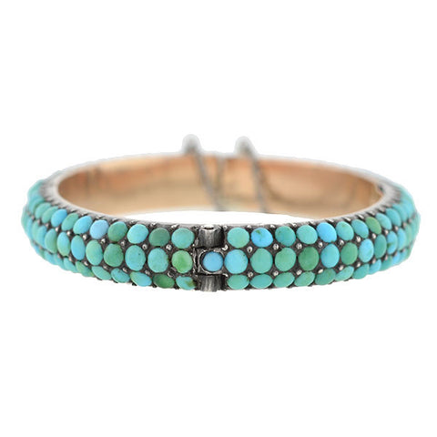 Victorian Sterling & 12kt Turquoise Hidden Compartment Bracelet