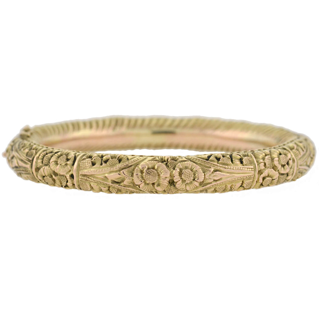 Art Nouveau 12kt Floral Repousse Motif Hinged Bangle Bracelet
