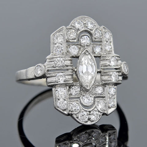 Art Deco Platinum & Diamond Filigree Ring 1.00ctw