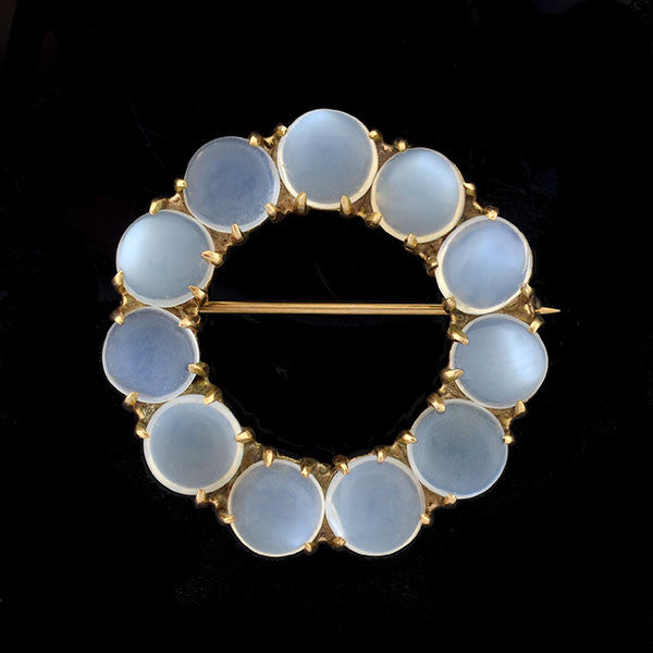 Art Deco Large 14kt Gold & Moonstone Circle Pin