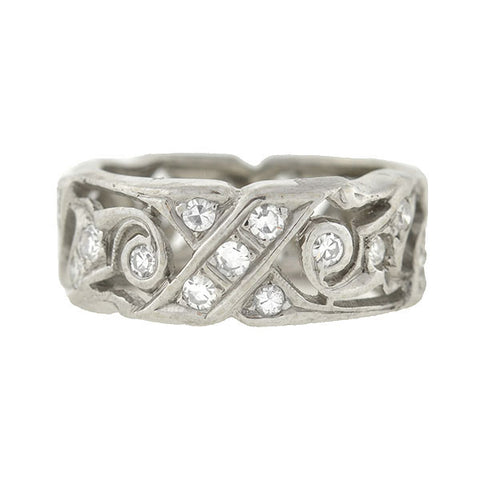 Retro 14kt Diamond Cutout Heart Band 1.50ctw