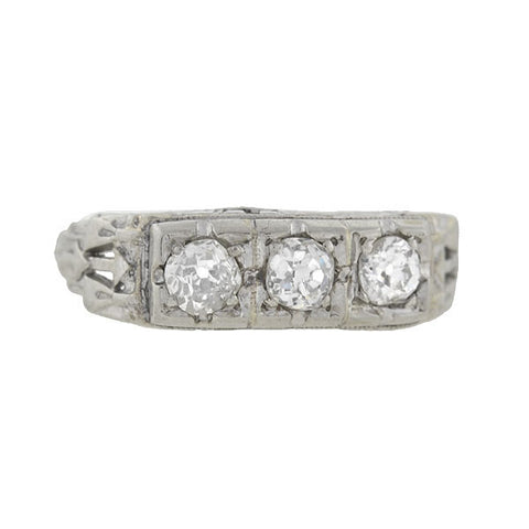 Edwardian 14kt Old Mine Cut Diamond 3-Stone Gypsy Ring .60ctw