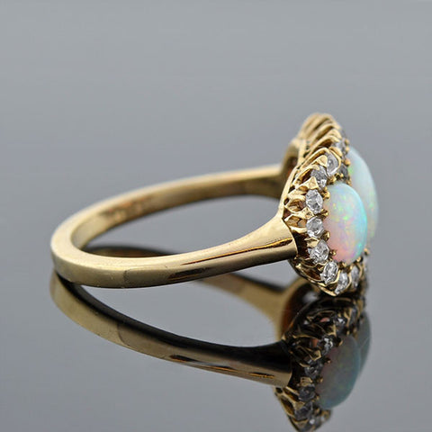 Late Victorian 14kt 3-Stone Opal & Diamond Ring