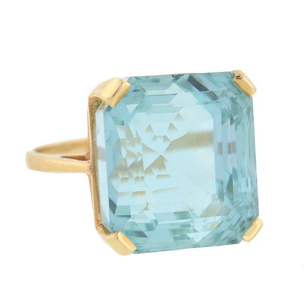 Vintage 14kt Faceted Aquamarine Cocktail Ring 32ct