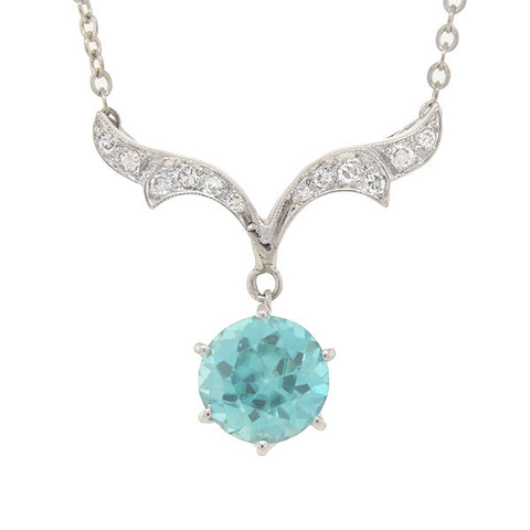Edwardian Platinum, Zircon & Diamond Wing Necklace 3ct