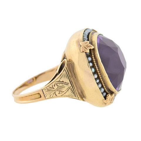 Late Victorian 14kt Gold Amethyst & Seed Pearl Ring