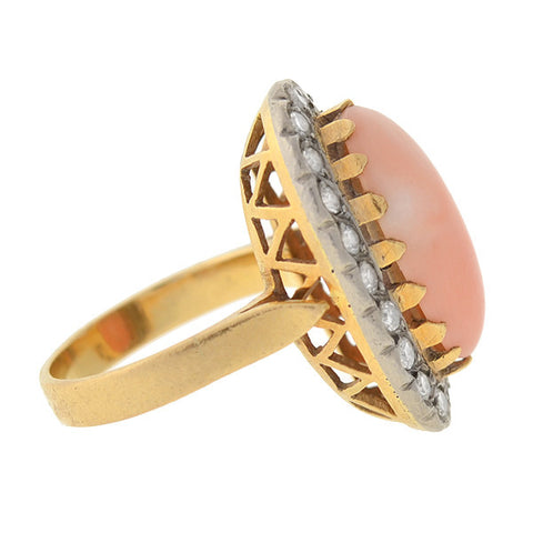 Art Deco 18kt Angel Skin Coral & Diamond Ring
