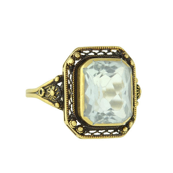 Art Deco 14kt Aquamarine Filigree Ring 3ct
