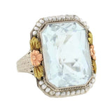 Art Deco 14kt Aquamarine & Seed Pearl Filigree Ring