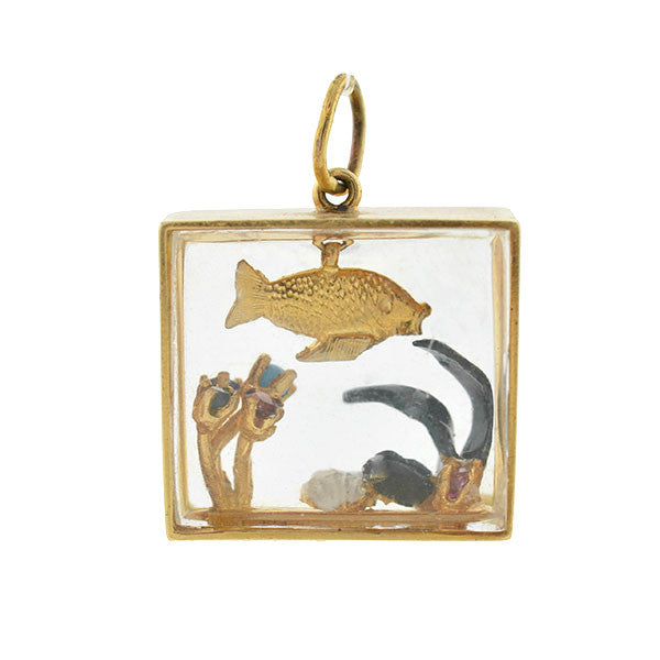 Vintage Large 14kt Fish Aquarium 3-Dimensional Charm