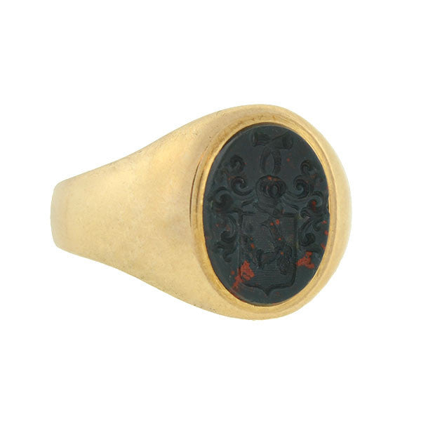 Victorian 14kt Bloodstone Family Crest Intaglio Ring