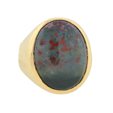 Victorian 14kt Gold & Cabochon Bloodstone Ring