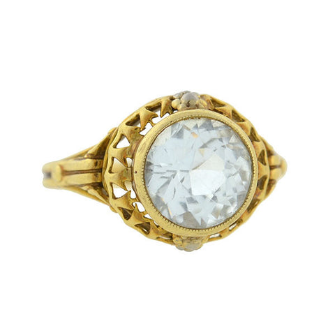 Early Retro 14kt Blue Topaz Ring