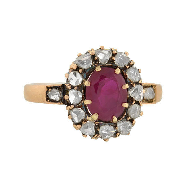 Victorian 14kt Burmese Ruby & Rose Cut Diamond Ring