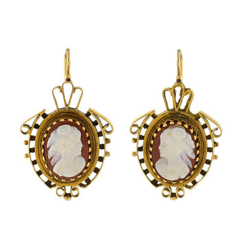 Victorian 14kt Sardonyx Cameo Lady Earrings