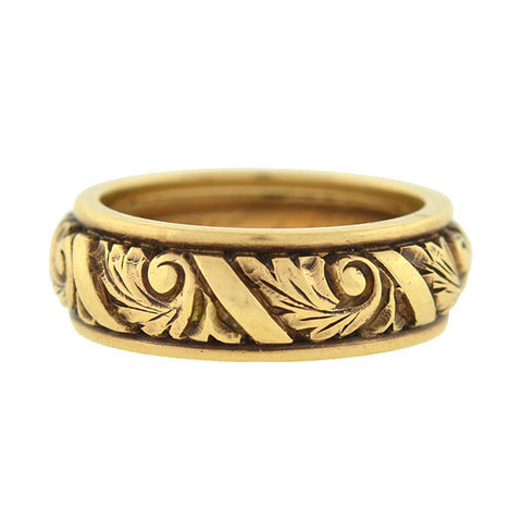 Retro 14k Carved Leaf Motif Band 4.7dwt