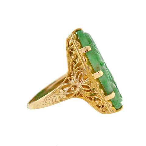 Art Deco 14kt Carved Floral Jadeite Filigree Ring