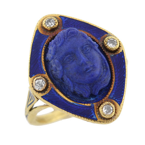 Victorian 14kt Carved Lapis, Diamond & Enamel Ring