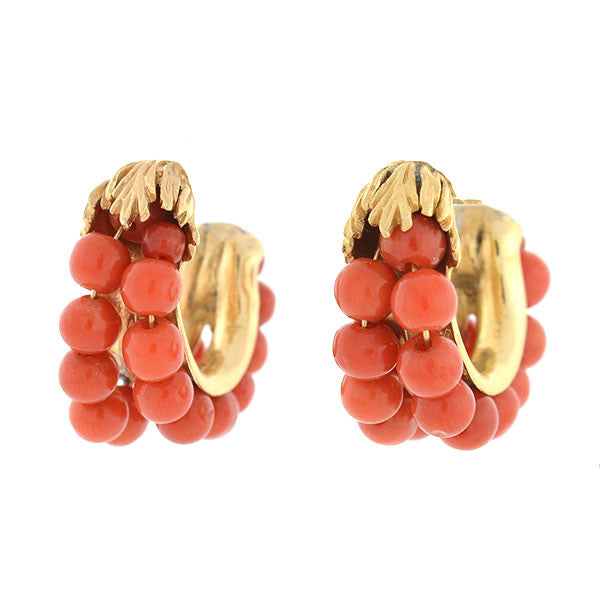 Retro 14kt Beaded Coral Half Hoop Earrings