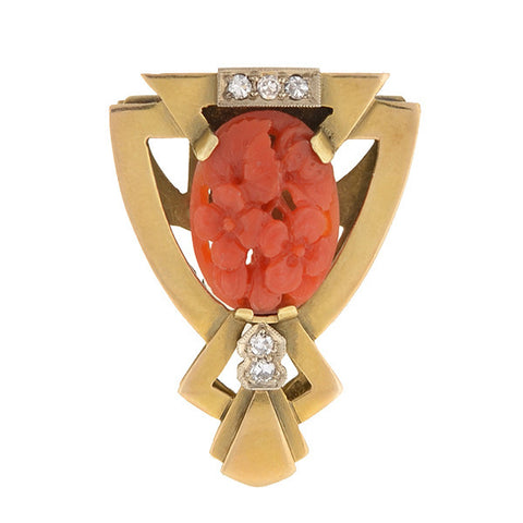 Art Deco 14kt Carved Coral & Diamond Brooch Clip
