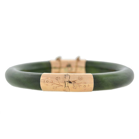 Early Retro Chinese 14kt Nephrite Jade Bangle Bracelet