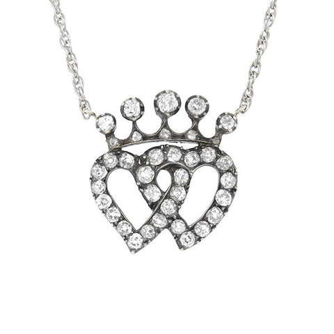 Early Victorian 14kt & Diamond Double Heart Necklace