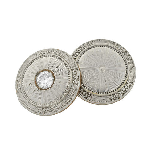Art Deco Platinum Topped 14kt Diamond Cufflinks