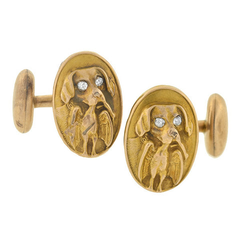 Victorian 14kt & Diamond Hunting Dog Cufflinks