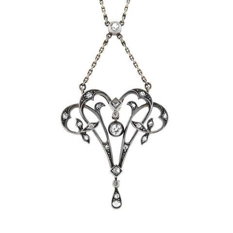 Victorian Sterling-Topped 14kt Diamond Lavalier Necklace
