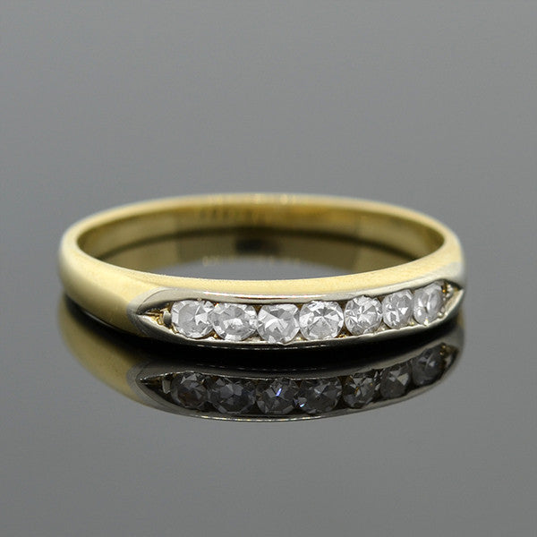 Vintage 14kt Mixed Metals Single Cut Diamond Half Band