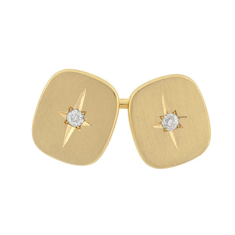 LARTER Late Victorian 14kt Diamond Starburst Cufflinks