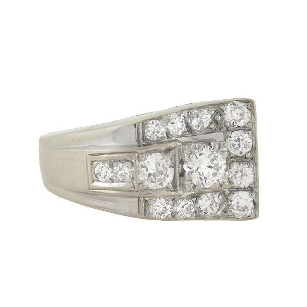 "Retro 14kt Diamond ""Wave"" Ring 1.00ctw"