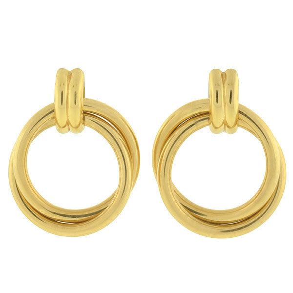 Estate 14kt Yellow Gold Double Hoop Earrings
